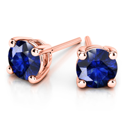 Giacobbe & Company 14k Rose Gold 18K GOLD BLUE SAPPHIRE STUD EARRINGS (6MM)