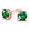 Giacobbe & Company 14k Rose Gold 18K GOLD EMERALD STUD EARRINGS (6MM)