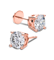 Giacobbe & Company 14k Rose Gold 18K WHITE GOLD ROUND 1CTW VS2-SI1 G-H FOUR-PRONG LOCKING-BACK DIAMOND STUD EARRINGS