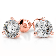 Giacobbe & Company 14k Rose Gold 18K WHITE GOLD ROUND 1CTW VS2-SI1 G-H SCREW-BACK MARTINI DIAMOND STUD EARRINGS