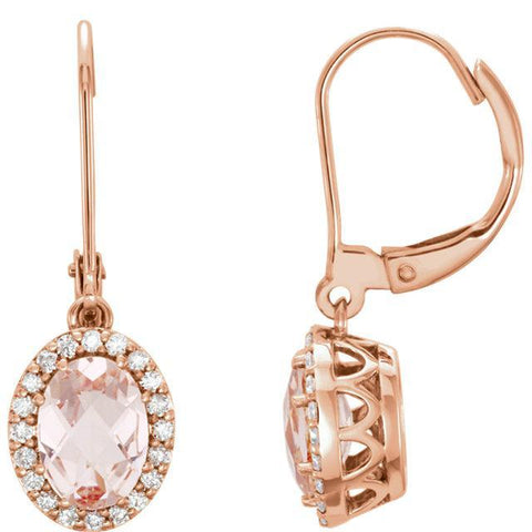 Giacobbe & Company 14K Rose Gold Morganite & 1/5 CTW Diamond Leverback Earrings
