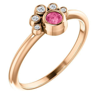 Giacobbe & Company 14K Rose Gold Pink Tourmaline & .04 CTW Diamond Ring
