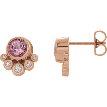Giacobbe & Company 14K Rose Gold Pink Tourmaline & 1/8 CTW Diamond Earrings