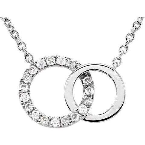 "Giacobbe & Company 14K White Gold .06 CTW Diamond Circle 18"" Necklace"