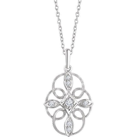 "Giacobbe & Company 14K White Gold 1/10 CTW Diamond Filigree 16-18"" Necklace"