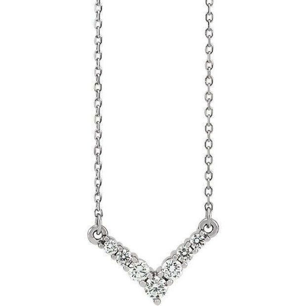 "Giacobbe & Company 14K White Gold 1/3 CTW Diamond ""V"" 16-18"" Necklace"