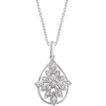 Giacobbe & Company 14K White Gold 1/6 CTW Diamond Granulated Filigree Necklace