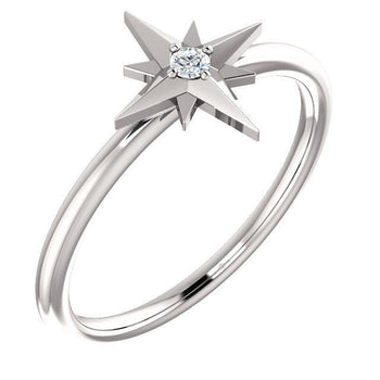 Giacobbe & Company 14k White Gold 14K White, Yellow, or Rose Gold .03 CT Diamond Star Ring