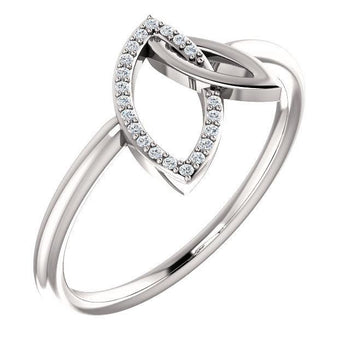 Giacobbe & Company 14k White Gold 14K White, Yellow, or Rose Gold .05 CTW Diamond Double Leaf Ring