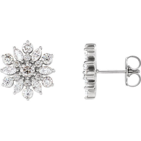 Giacobbe & Company 14k White Gold 14K White, Yellow, or Rose Gold 1-1/8 CTW Diamond Vintage-Inspired Stud Earrings
