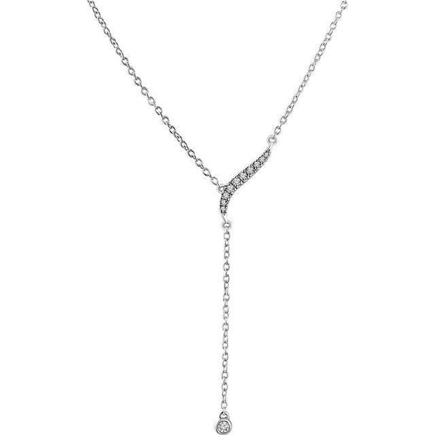 "Giacobbe & Company 14k White Gold 14K White, Yellow, or Rose Gold 1/10 CTW Diamond Y 16-18"" Necklace"