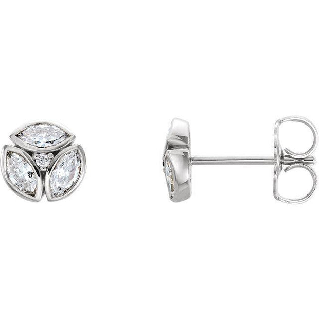 Giacobbe & Company 14k White Gold 14K White, Yellow, or Rose Gold 1/2 CTW Diamond Marquise Cluster Earrings