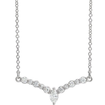 "Giacobbe & Company 14k White Gold 14K White, Yellow, or Rose Gold 1/3 CTW Diamond 16"" ""V"" Necklace"