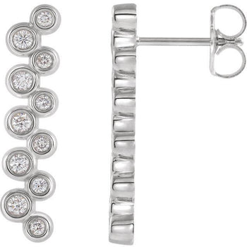 Giacobbe & Company 14k White Gold 14K White, Yellow, or Rose Gold 1/3 CTW Diamond Bezel-Set Drop Earrings