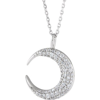 "Giacobbe & Company 14k White Gold 14K White, Yellow, or Rose Gold 1/3 CTW Diamond Crescent Moon 16""-18"" Necklace"