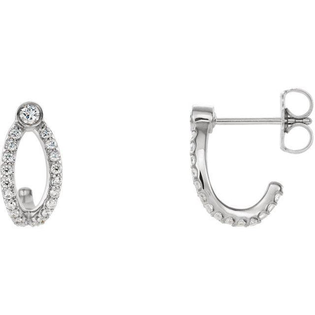 Giacobbe & Company 14k White Gold 14K White, Yellow, or Rose Gold 1/3 CTW Diamond J-Hoop Earrings