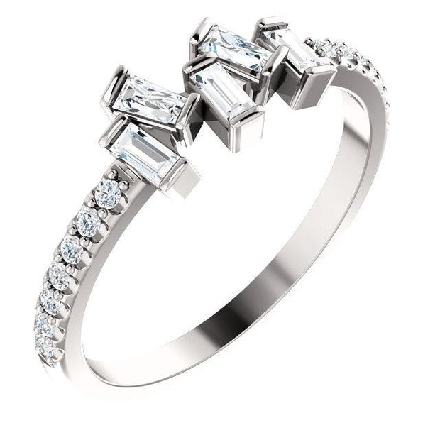 Giacobbe & Company 14k White Gold 14K White, Yellow, or Rose Gold 1/3 CTW Diamond Scattered Ring