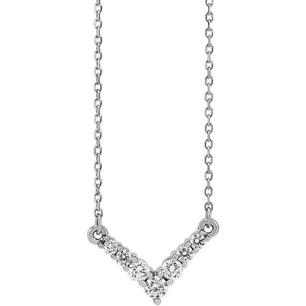 "Giacobbe & Company 14k White Gold 14K White, Yellow, or Rose Gold 1/3 CTW Diamond ""V"" 16-18"" Necklace"