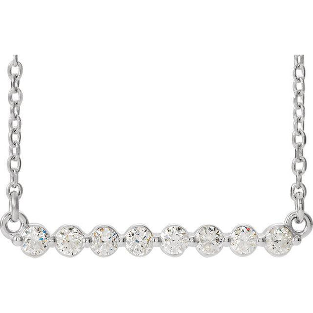 "Giacobbe & Company 14k White Gold 14K White, Yellow, or Rose Gold 1/4 CTW Diamond Bar 16"" Necklace"