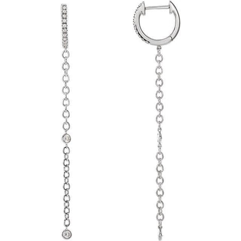 Giacobbe & Company 14k White Gold 14K White, Yellow, or Rose Gold 1/4 CTW Diamond Hinged Hoop Chain Earrings