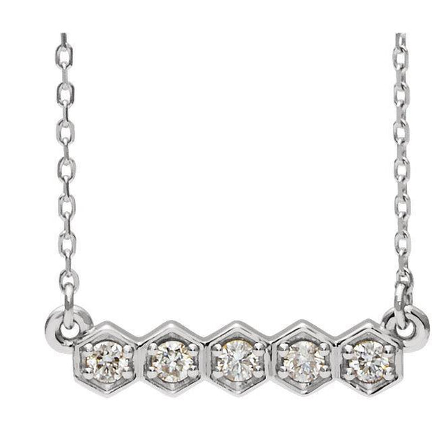 Giacobbe & Company 14k White Gold 14K White, Yellow, or Rose Gold 1/5 CTW Diamond Bar Necklace