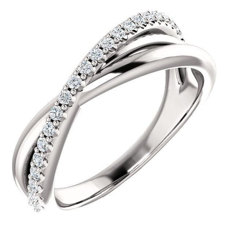 Giacobbe & Company 14k White Gold 14K White, Yellow, or Rose Gold 1/5 CTW Diamond Criss-Cross Ring