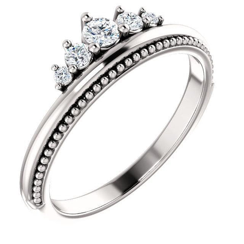 Giacobbe & Company 14k White Gold 14K White, Yellow, or Rose Gold 1/5 CTW Diamond Stackable Crown Ring