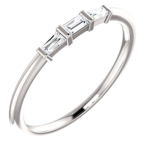Giacobbe & Company 14k White Gold 14K White, Yellow, or Rose Gold 1/6 CTW Diamond Three-Stone Stackable Ring
