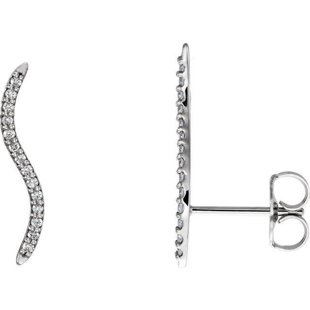 Giacobbe & Company 14k White Gold 14K White, Yellow, or Rose Gold 1/6 CTW Diamond Wavy Ear Climbers