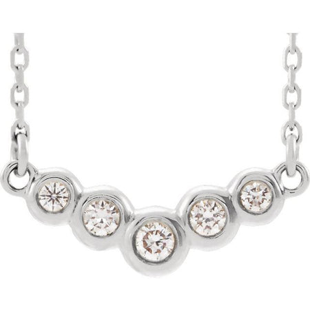 "Giacobbe & Company 14k White Gold 14K White, Yellow, or Rose Gold 1/8 CTW Diamond Five-Stone Bezel Set ""V"" 16"" Necklace"