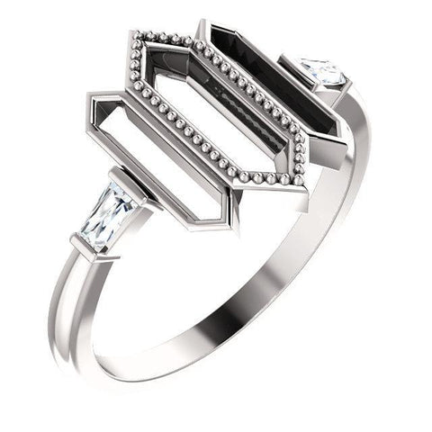 Giacobbe & Company 14k White Gold 14K White, Yellow, or Rose Gold 1/8 CTW Diamond Geometric Ring