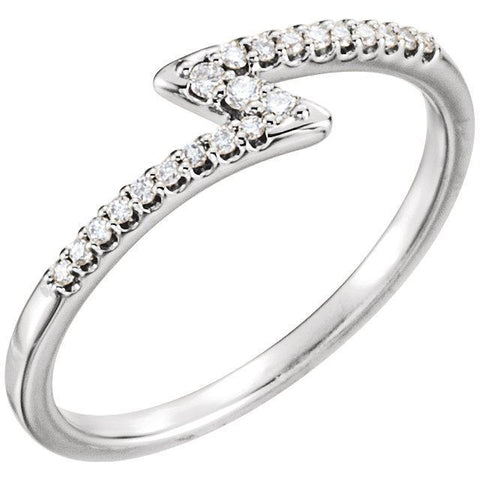 Giacobbe & Company 14k White Gold 14K White, Yellow, or Rose Gold 1/8 CTW Diamond Stackable Lightning Bolt Ring
