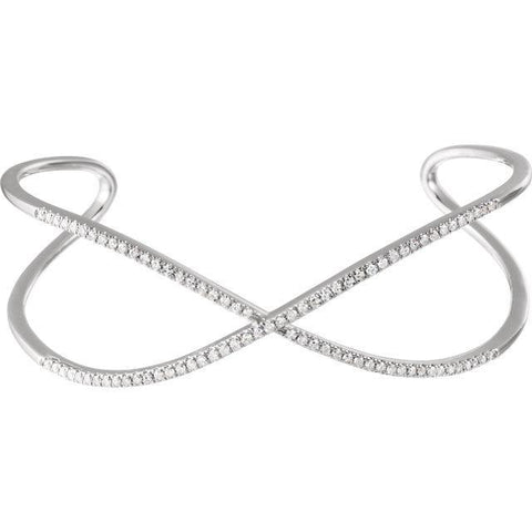 "Giacobbe & Company 14k White Gold 14K White, Yellow, or Rose Gold 3/4 CTW Diamond Criss-Cross Cuff 7"" Bracelet"