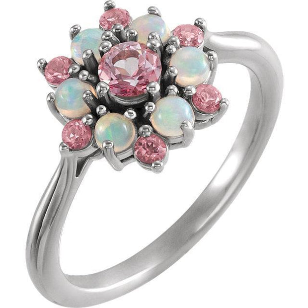 Giacobbe & Company 14k White Gold 14K White, Yellow, or Rose Gold Baby Pink Topaz & Ethiopian Opal Floral-Inspired Ring