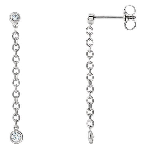 Giacobbe & Company 14k White Gold 14K White, Yellow, or Rose Gold Bezel Set Chain Earrings