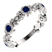 Giacobbe & Company 14k White Gold 14K White, Yellow, or Rose Gold Blue Sapphire & .03 CTW Diamond Leaf Ring