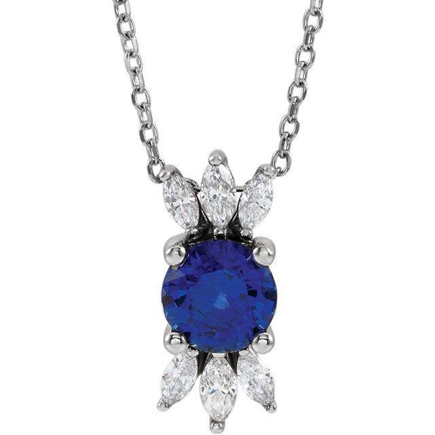 "Giacobbe & Company 14k White Gold 14K White, Yellow, or Rose Gold Blue Sapphire & 1/4 CTW Diamond 16""-18"" Necklace"