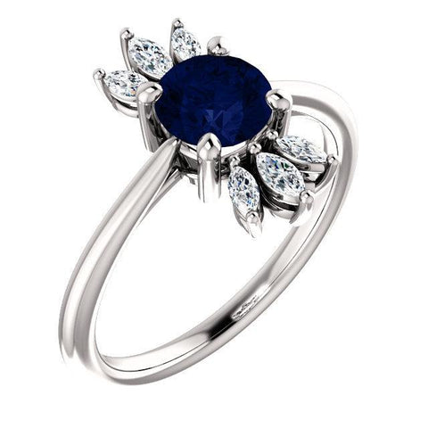 Giacobbe & Company 14k White Gold 14K White, Yellow, or Rose Gold Blue Sapphire & 1/4 CTW Diamond Ring