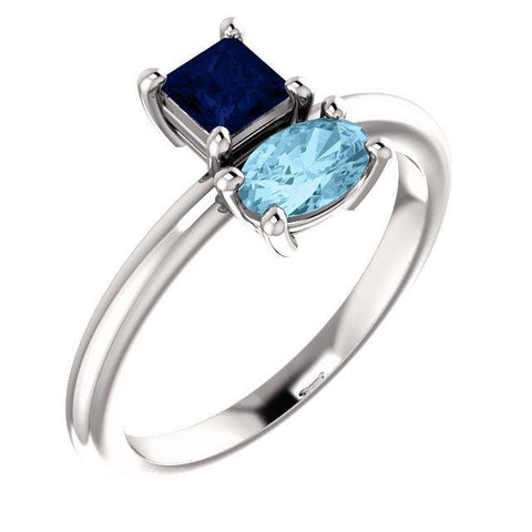Giacobbe & Company 14k White Gold 14K White, Yellow, or Rose Gold Blue Sapphire & Aquamarine Ring