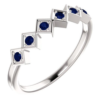 Giacobbe & Company 14k White Gold 14K White, Yellow, or Rose Gold Blue Sapphire Stackable Ring