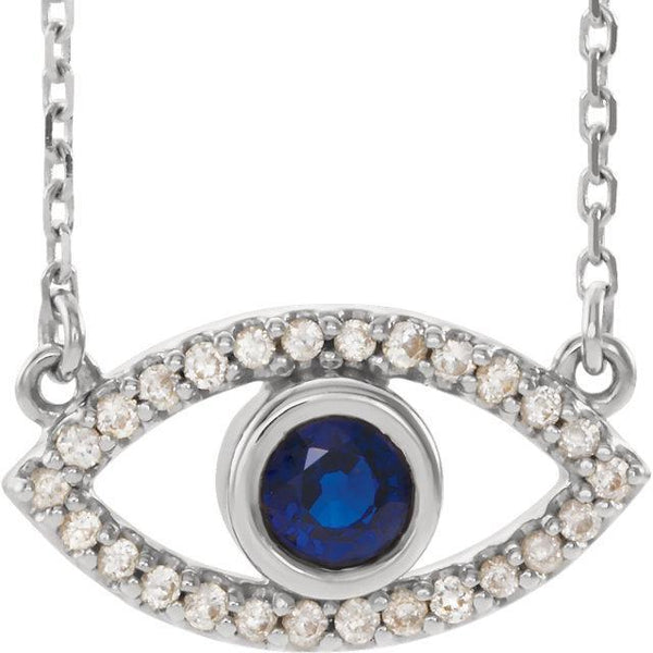 14K White, Yellow, or Rose Gold Blue Sapphire & White Sapphire Evil Eye 16