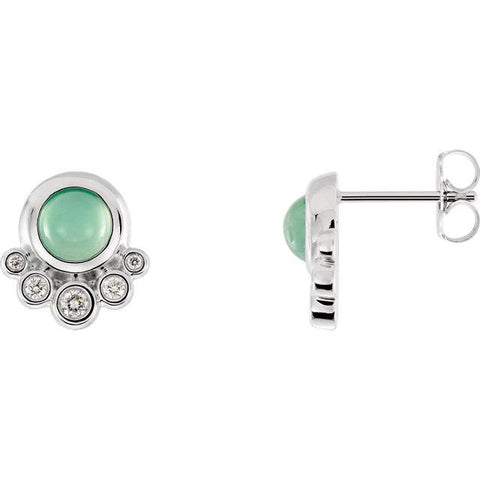 Giacobbe & Company 14k White Gold 14K White, Yellow, or Rose Gold Chrysoprase & 1/8 CTW Diamond Earrings