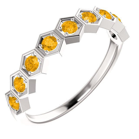 Giacobbe & Company 14k White Gold 14K White, Yellow, or Rose Gold Citrine Stackable Ring