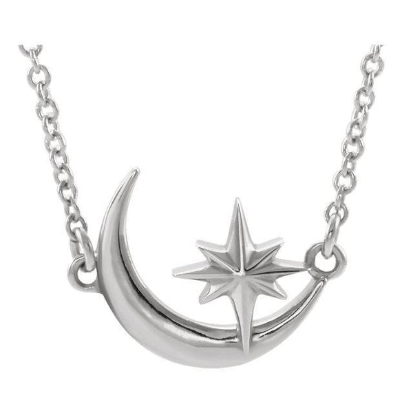 14K White, Yellow, or Rose Gold Crescent Moon & Star 16