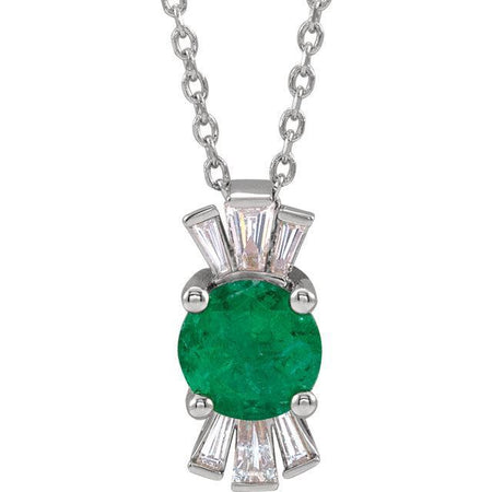 "Giacobbe & Company 14k White Gold 14K White, Yellow, or Rose Gold Emerald & 1/6 CTW Diamond 16""-18"" Necklace"