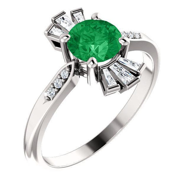 Giacobbe & Company 14k White Gold 14K White, Yellow, or Rose Gold Emerald & 1/6 CTW Diamond Ring