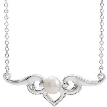 "Giacobbe & Company 14k White Gold 14K White, Yellow, or Rose Gold Freshwater Clutured Pearl Bar 16"" Necklace"