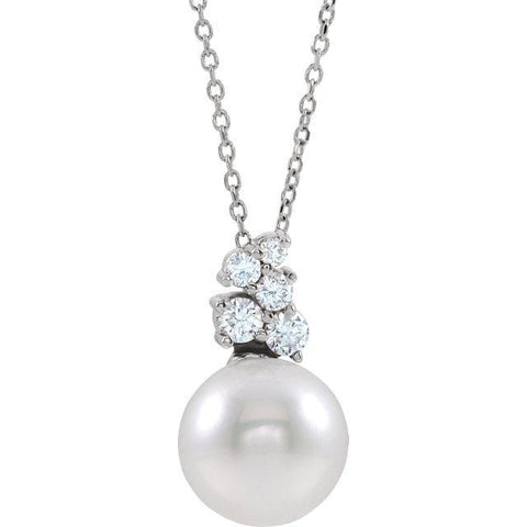 "Giacobbe & Company 14k White Gold 14K White, Yellow, or Rose Gold Freshwater Cultured Pearl & 1/4 CTW Diamond 16-18"" Necklace"