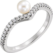 Giacobbe & Company 14k White Gold 14K White, Yellow, or Rose Gold Freshwater Cultured Pearl & 1/5 CTW Diamond Asymmetrical Ring