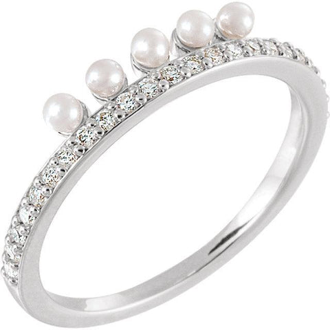 Giacobbe & Company 14k White Gold 14K White, Yellow, or Rose Gold Freshwater Cultured Pearl & 1/5 CTW Diamond Stackable Ring